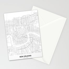 New Orleans, United States Minimalist Map Stationery Cards