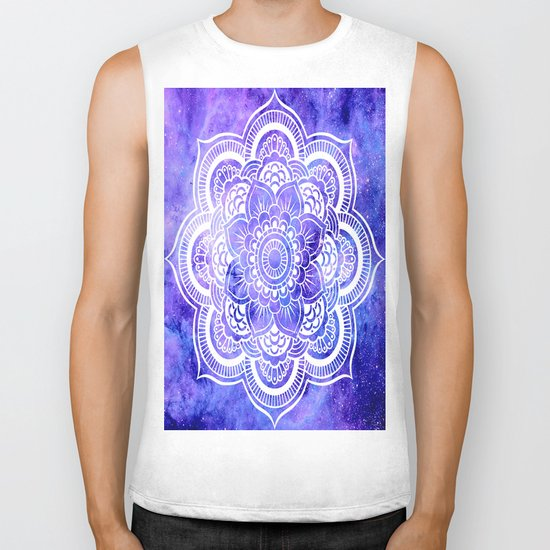 Mandala Violet Blue Galaxy Space Biker Tank