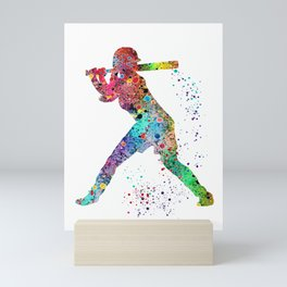 Baseball Softball Player Sports Art Print Watercolor Print Girl's softball Mini Art Print