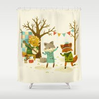 spring Shower Curtains featuring Critters: Spring Dancing by Teagan White