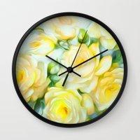 shabby chic Wall Clocks featuring Shabby Chic Yellow by Jacqueline Maldonado