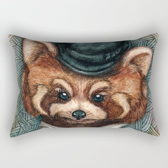 Cute Red Panda in Bowler hat Rectangular Pillow