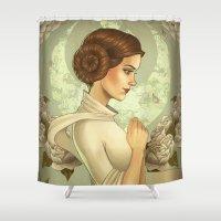 princess leia Shower Curtains featuring Princess Leia by trevacristina