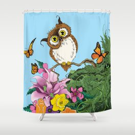 Owl and Green Man Shower Curtain