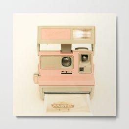 Pink Pola Love vintage camera Metal Print