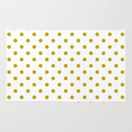 White and Gold Polka Dots Rug