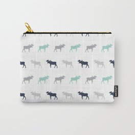 Moose pattern minimal nursery basic grey and white camping cabin chalet decor Carry-All Pouch