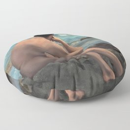 Nude Male by the Sea Floor Pillow
