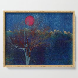 Abstract watercolor landscape with tree Serving Tray