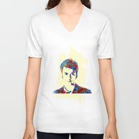 david tennant V-neck T-shirts featuring David Tennant - Doctor Who by lauramaahs