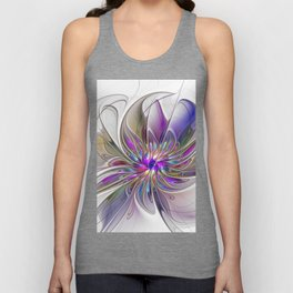 Energetic, Abstract And Colorful Fractal Art Flower Unisex Tank Top