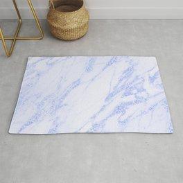 Blue Marble - Shimmery Glittery Cornflower Sky Blue Marble Metallic Rug