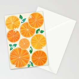 Orange Slices With Blossoms Stationery Cards