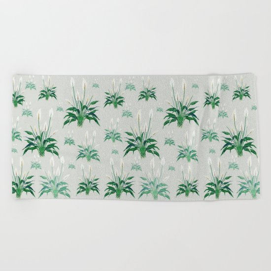 peace lily painting Beach Towel