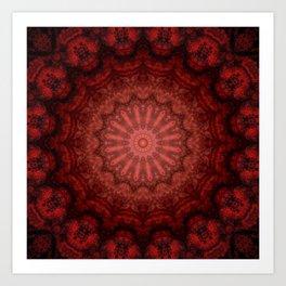 Bright red Bohemian mandala design Art Print