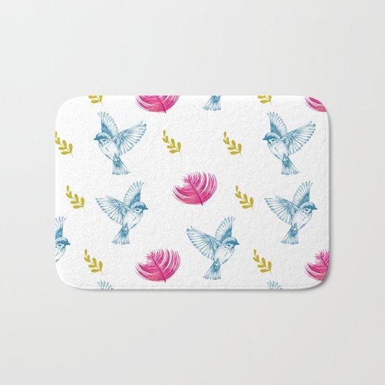 Blue Bird Pattern #society6 #decor #buyart Bath Mat