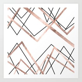 Rose Gold White Linear Triangle Abstract Pattern Art Print