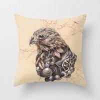 hawk Throw Pillows featuring Hawk by Adrian Chin
