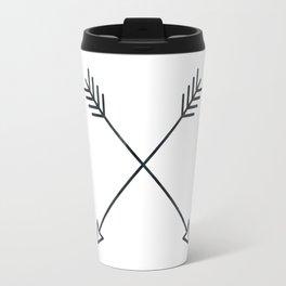Arrows - Black and White Arrow Adventure Wanderlust Vintage Compass Design Travel Mug
