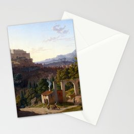 Leo von Klenze Landscape with the Castle of Massa di Carrara Stationery Cards