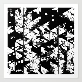 Splatter Triangles - Black and white, abstract, paint splat, triangular pattern Art Print