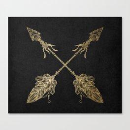 Gold Arrows on Black Canvas Print