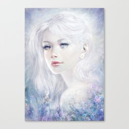 Ethereal - White as ice beatiful girl portrait Canvas Print
