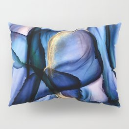 Mesmerize - Indigo, Cerulean, and Pale Pink Abstract Pillow Sham