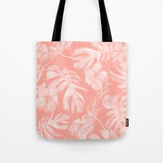 Tropical Hibiscus Palm Leaves Coral Pink Tote Bag