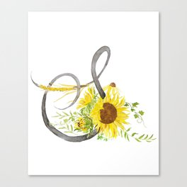Letter S calligraphy watercolor flowers Canvas Print