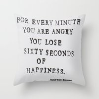 waldo Throw Pillows featuring Happiness Ralph Waldo Emerson Quote by All Surfaces Design