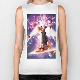 Laser Eyes Space Cat Riding On Surfing Llama Unicorn Biker Tank