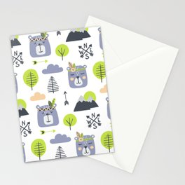 Cute Mountains Bears and Trees Happy Campers Children Pattern Stationery Cards