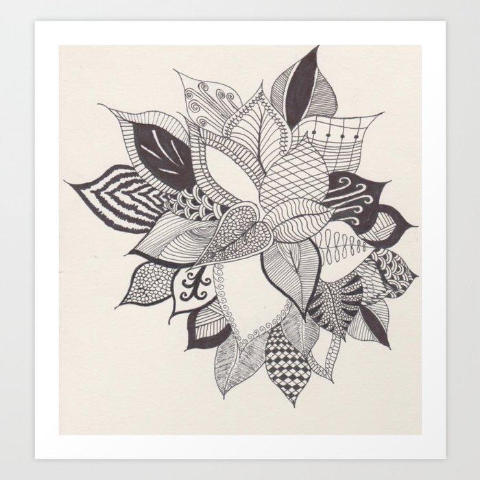 Zentangle Plant Art Print By Bbyblue Society6