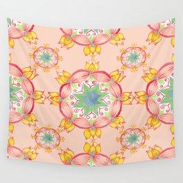 Yellow lotus Mandala Peach background Wall Tapestry