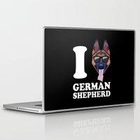 german shepherd Laptop & iPad Skins featuring I Love German Shepherd modern v2 by Vehicle