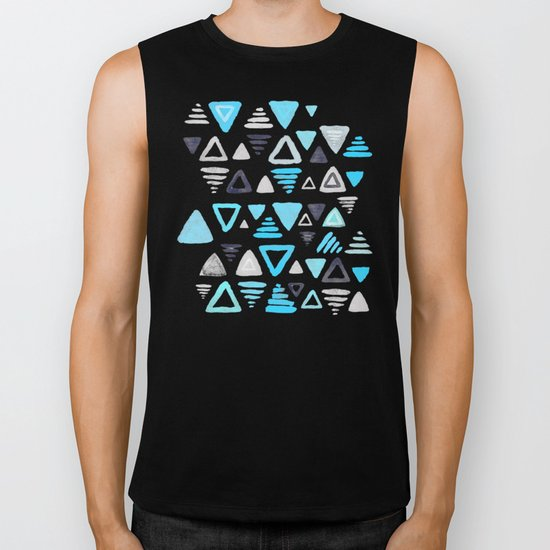 Summer Turquoise Triangles on Grey Biker Tank