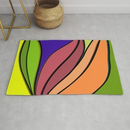 Colourful abstract plant artwork  Rug