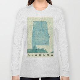 Alabama State Map Blue Vintage Long Sleeve T-shirt