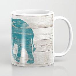Rustic Teal Elephant on White Painted Wood A222a Coffee Mug