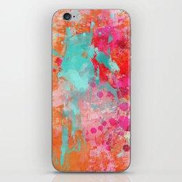 Paint Splatter Turquoise Orange And Pink iPhone Skin