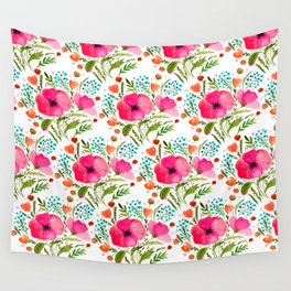 Flower bouquet with poppies - pink, blue and orange Wall Tapestry