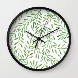 Vivid Green Tendril Botanical Watercolor Pattern Wall Clock