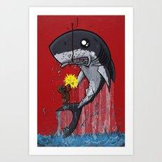Seal Dragon Punching Shark Art Print