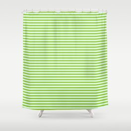 Green and Light Cyan Colored Striped/Lined Pattern Shower Curtain
