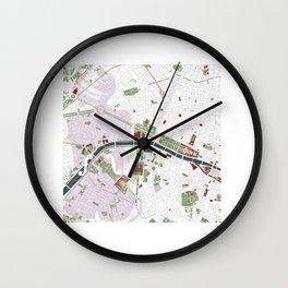 Paris city map minimal Wall Clock