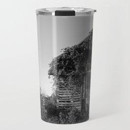 Abandoned Barn Garden (Black & White Photography) Travel Mug