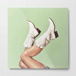 These Boots - Green Metal Print