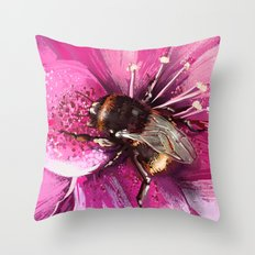 Bee on flower 13 Throw Pillow