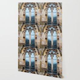 Stained glass window of Rosslyn Chapel outside Edinburgh, Scotland Wallpaper